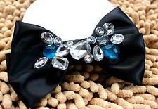 Black Satin Smart Men Wedding Blue Acrylic Rhinestone Necktie Bow Tie Brooch