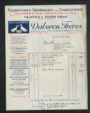 """PARIS Halles (I°) CHARCUTERIE TRUFFES & FOIE GRAS Marie """"DABURON Freres"""" en 1937"""