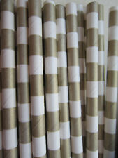 Sailor Striped Paper Straws Gold 25 ct.- Twilight Parties -