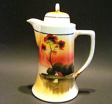 Noritake Coffee Cocoa Tea Pot Tree in the Meadow Handpainted Japan 9 In Antique