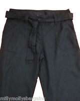 New Womens Black Linen NEXT Crop Trousers Size 8 6 Tall Petite