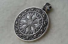 Big Double Sided Solid Silver Sterling 925 PENDANT Helm of awe Aegishjalmur