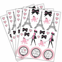 4 Sheets Paris Stickers Party Favors Teacher Supply French pink poodle Eiffel