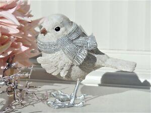 Clayre & Eef Dekofigur Vogel Weiß Silberfarben Shabby Landhaus Winter Deko H.11