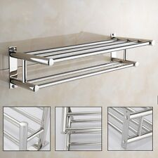 Stainless Steel Wall Mounted Bar Polish Towel Rack Holder Bathroom Double Rail