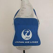 Vtg Japan Air Lines JAL Shoulder Bag Blue Carry On White Crane Logo