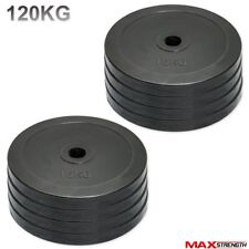 """Olympic Bumper Rubber Disc Weight Plates Barbell Bar 2"""" Crossfit Gym 120kg Set"""