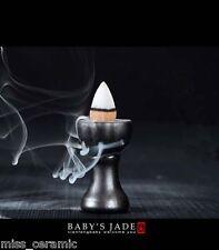 Buddha Lotus Ceramic Smoke Backflow cone burner incense holder & 2 cones