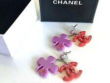 Chanel ✿*゚2004A Hot Pink Daisy Shamrock Dangle Drop Earrings..
