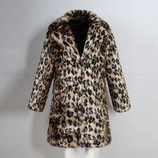 Mens Leopard Coat Faux Fur Thicken Long Jacket Outwear Warm Clothes