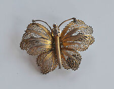 Vintage Portugal Handmade Figural Goldwash Silver Filigree Butterfly Brooch Pin
