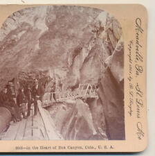 Box Canyon group of people Ouray CO Keystone Stereoview 1901