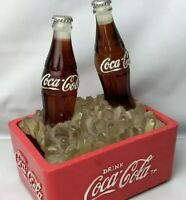 Vintage Coca Cola Advertising 2 Bottles Ice Counter Top RARE