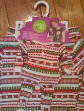 NWT $44 GIRLS DOLLIE & ME MATCHING PAJAMAS RED WHITE GREEN HEARTS FLOWERS SZ 10