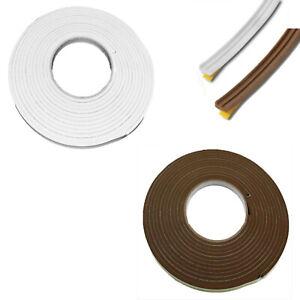 Dekton Excluding Draught Tape White Brown 5m x 10mm Foam Weather Strip Seal Door