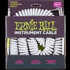 Ernie Ball Ultraflex Coil Guitar Lead 6045 Angled, White, 30ft