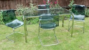IKEA Tobias Chairs Transparent Grey chrome Perspex Dining glass table DELIVERY