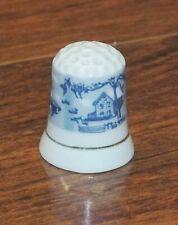 Unbranded Blue & White Cottage Ceramic Small Collectible Souvenir Thimble!