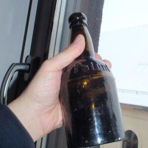 """Antique Black Glass Bottle Embossed """"PATENT"""" Beer Bottle . Sand Pontil ."""
