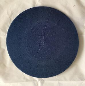 NWT! LEMON Cotton Knit 11 inch BERET Hat Marine BLUE ~ ALL SEASON