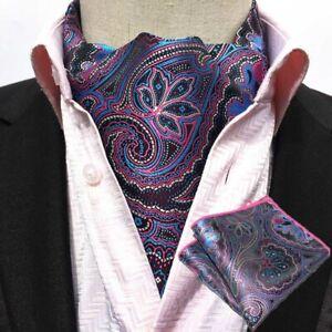 USA Shipping Men Paisley Cravat Ascot Necktie Matching Hanky Pocket Square Set