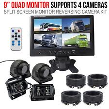 "9"" Quad Split Screen Monitor Side/Rear View CCD Camera Syetem For Truck Trailer"