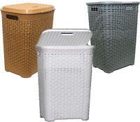45L Large Rattan Plastic Laundry Washing Clothes Bin Multi Storage Basket Box