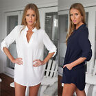 Women Sexy V Neck Shirt Long Sleeve Tunic Loose Tops Casual Long Blouse Pure CA