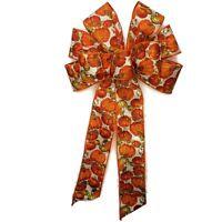 "10"" HandMade Bow Fall Pumpkin Orange Halloween Thanksgiving Wired Harvest Wreath"