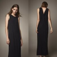 NEW Massimo Dutti Black Metallic Twist Back Maxi Dress Size Small S