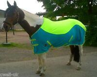 NEW TWO/TONE color horse/cob/pony SHOW FLEECE RUGS lime Green/Turquoise 4'6-6'9""