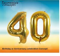 """Giant 40th Birthday Party 40"""" Foil Balloon Helium Air Decoration Age 40 GOLD"""