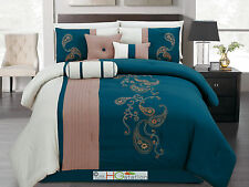 11 Paisley Floral Embroidery Pleated Comforter Curtain Set Blue Khaki Beige King