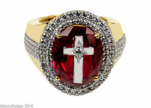 Mens Clergy Apostle Ring (MRG2031 G-R) Red Ruby, Sterling Silver w/Gold Plating