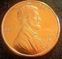 1909~S~V.D.B Lincoln Wheat Cent~DESIGN on 1 OZ copper .999~Silver Dollar size