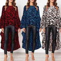 Womens Puff Sleeve Leopard Printed Blouse Ladies Asymmetric Tunic Tops T-Shirt