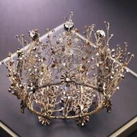 Baroque Wedding Hair Accessories Round Tiara Crown Black Crystal Bridal Diadem