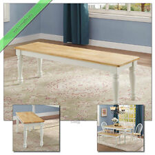 1 Pc Farmhouse Dining Bench, Country Wood Benches for Room & Kitchen, White Oak