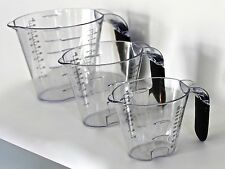 Set of 3 Measuring Jugs Jug Small Large Plastic Professional Quality Cooking New