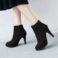 Women Ankle Boots Zipper Faux Suede Round Toe High Heel Booties Winter Shoes