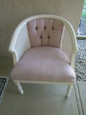 Hollywood  Regency Faux Bamboo Chair with Cane Side And Fabric