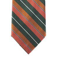 """Mens Vtg Necktie Tie Rooster 70% Silk Blend Green Orange White Stripe 55"""" Retro"""