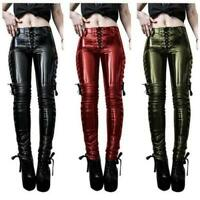 Women Faux Patent Leather Skinny Pants Club Hollow Lacing High Waist Legging B