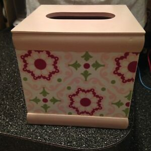Wendy Bellissimo Baby & Kids Mauve Pink & Green Flowers TISSUE BOX COVER HOLDER