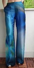 MAX MARA Blue Silk Blend Trousers, size 8 USA,10 GB,38 D,42 I, 40 F NEW