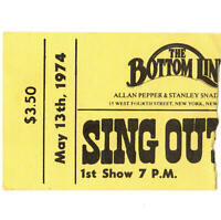 PETE SEEGER Concert Ticket Stub NEW YORK NY 5/13/74 THE BOTTOM LINE SING OUT MAG
