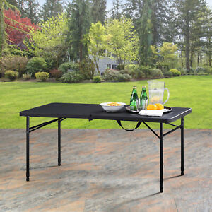 "Mainstays 48"" Fold-in-Half Table, Rich Black"