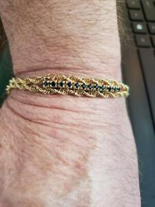 LADIES GENUINE SAPPHIRE BRACELET IN 14 K YELLOW GOLD .36 TCW 7  INCHES LONG