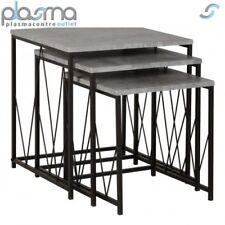 Valufurniture Corinthian Nest Of Tables - Concrete Effect/Black