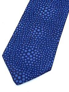 HERMES Blue Optical Polka Dots Jacquard H Lining Silk  Neck Tie  France Necktie